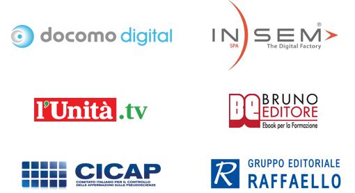 Docomo Digital, Insem Spa, l'Unità.TV, Bruno Editore, CICAP, Raffaello Editore
