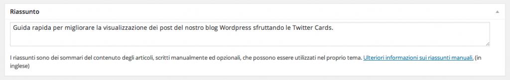 campo Riassunto WordPress