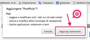 Picklet Chrome - conferma autorizzazioni