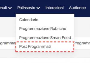 post programmati - menù principale