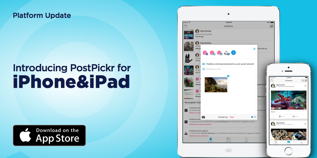App PostPickr iOS per iPhone e iPad