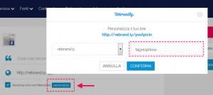personalizza url con Rebrandly