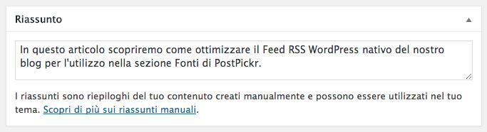 Feed RSS WordPress - Usare il campo Riassunto