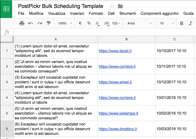Excel Bulk Scheduling Template
