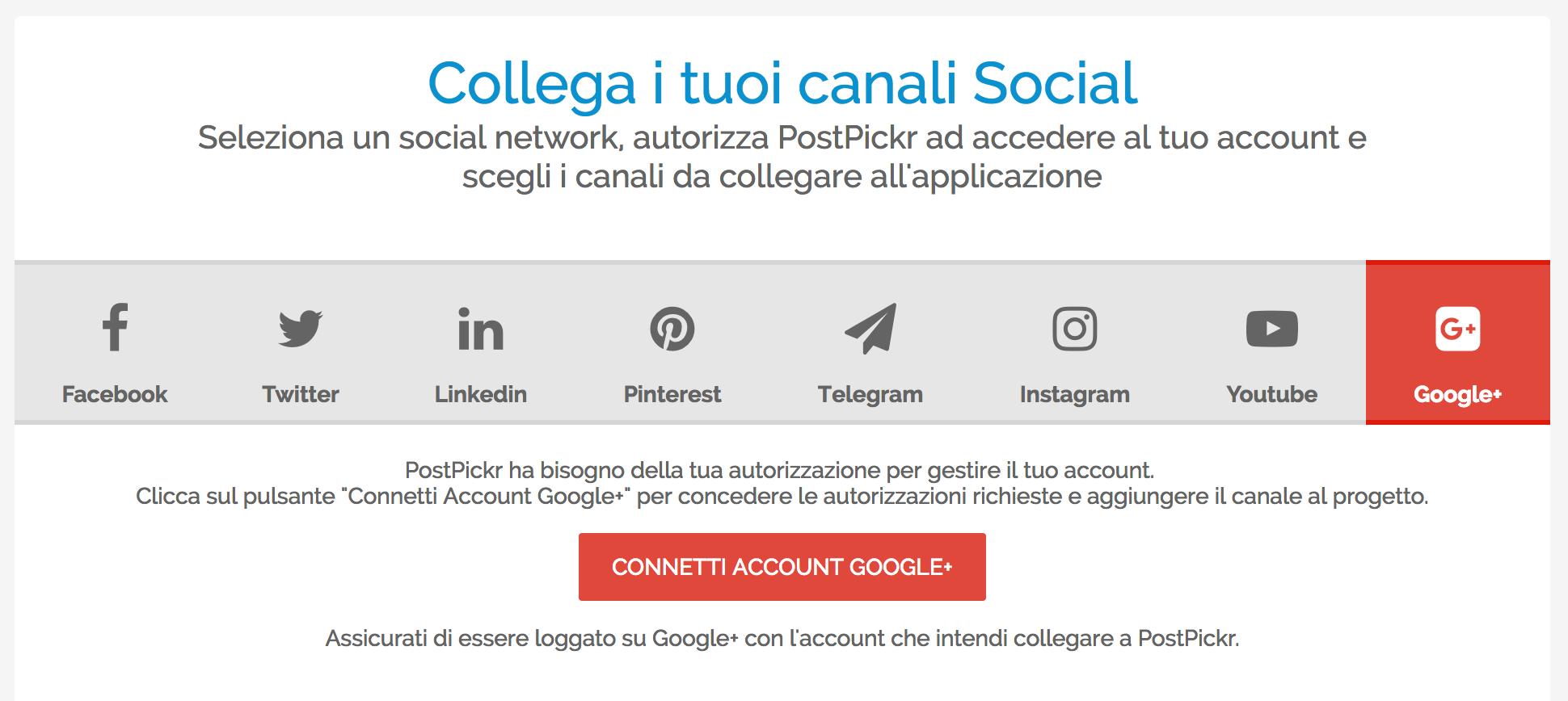 Pubblicare su Profili e Pagine Google+: finestra di collegamento canali a PostPickr