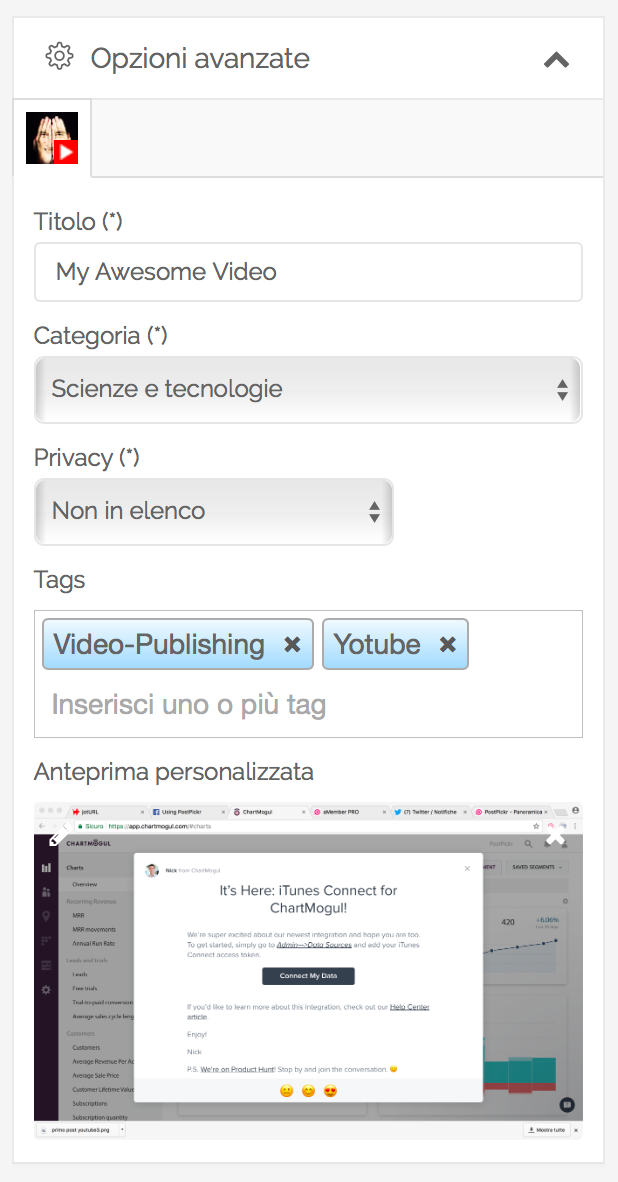 Impostazioni Avanzate - YouTube Video Publishing