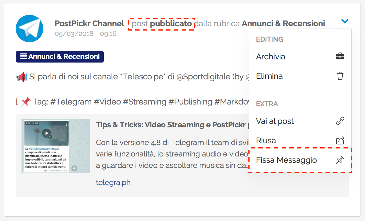 Gestione Canali Telegram - Pinned Message