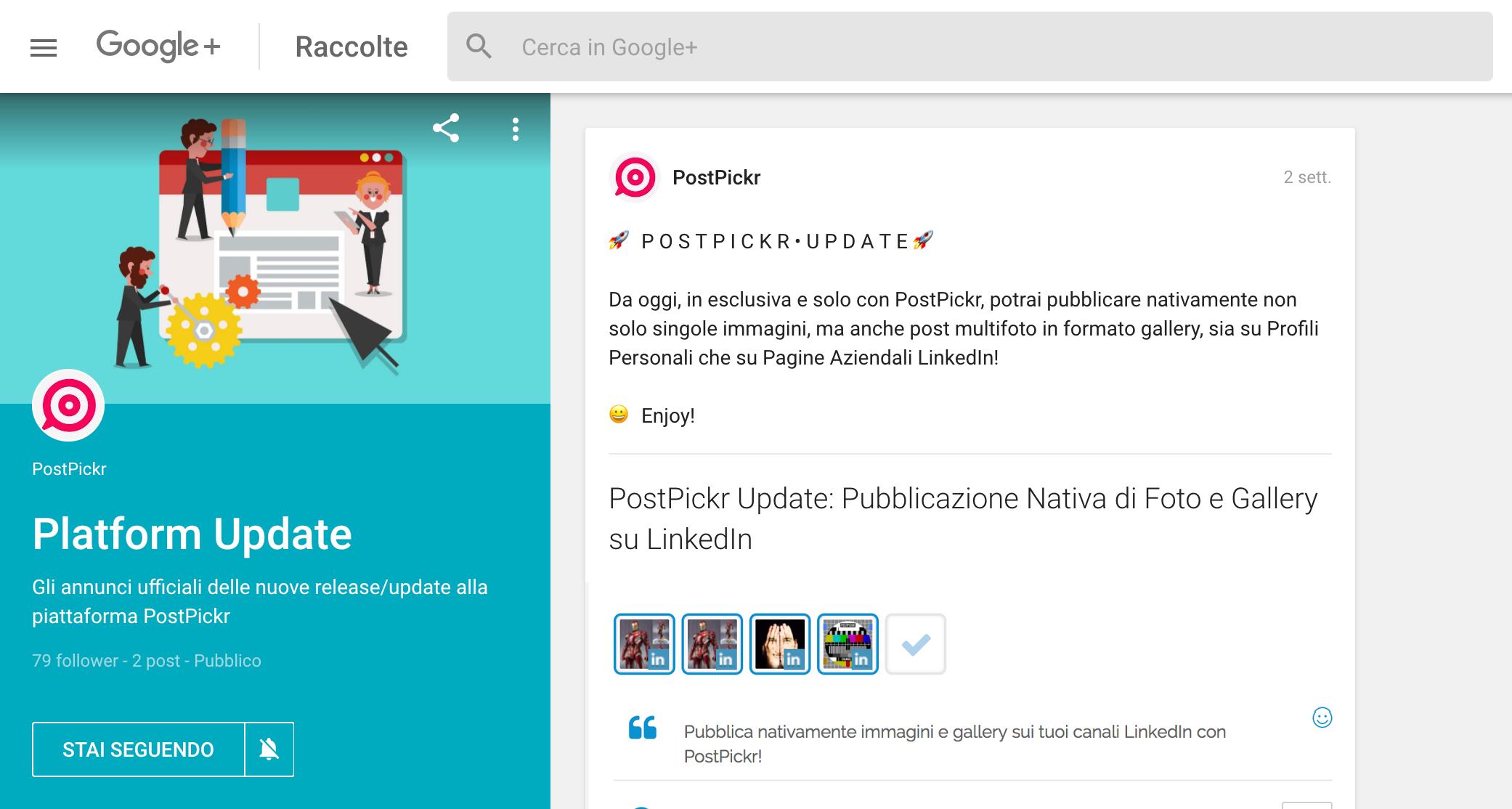 Pubblicare su Profili e Pagine Google+: esempio di Raccolta