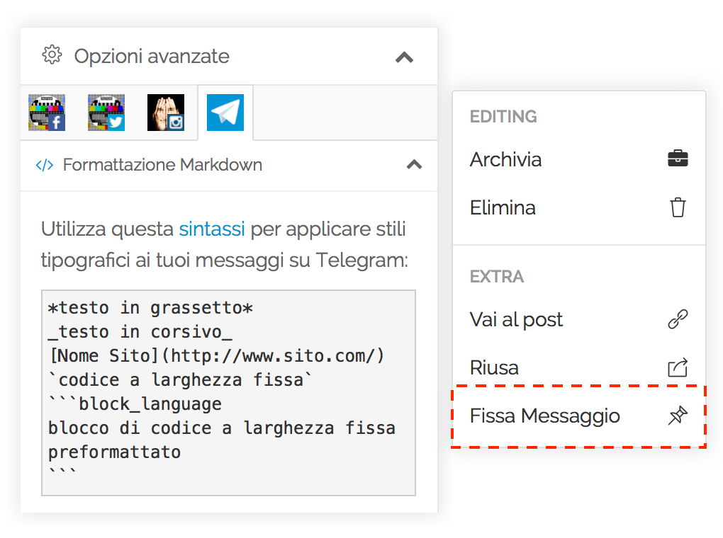 Gestione Canali Telegram - Markdown e Pinned Message