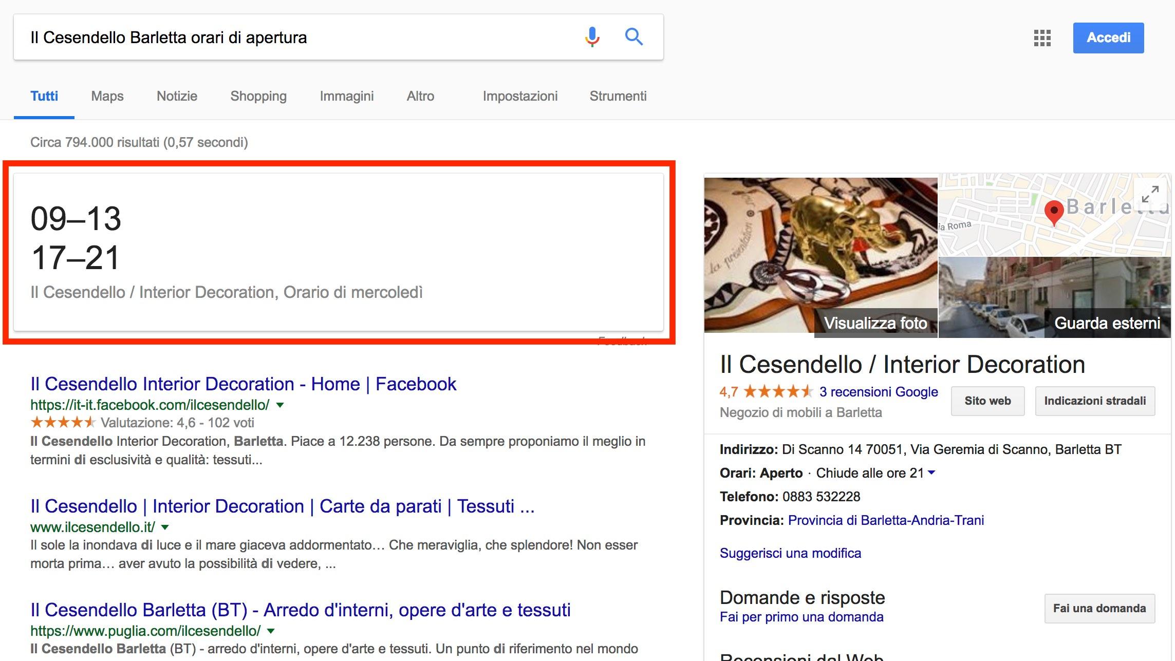 Google My Business: ricerca finalizzata al contatto