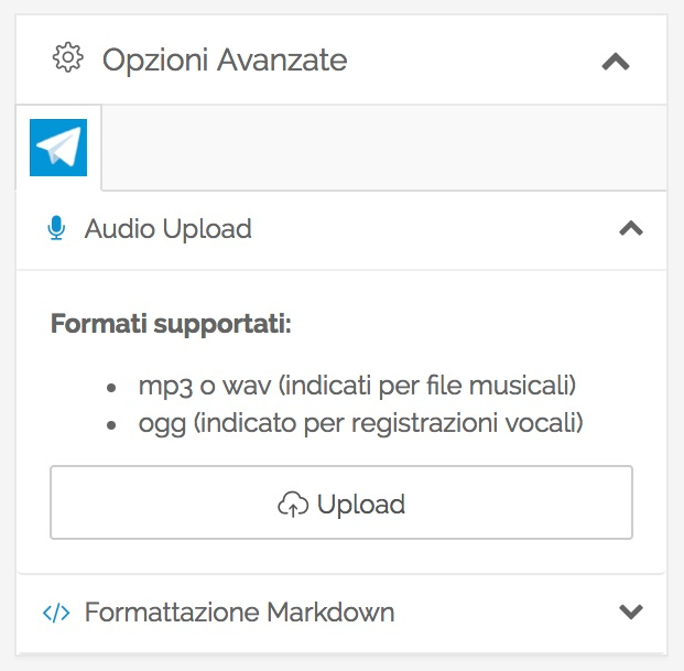 Telegram Audio Publishing - caricare un file in PostPickr