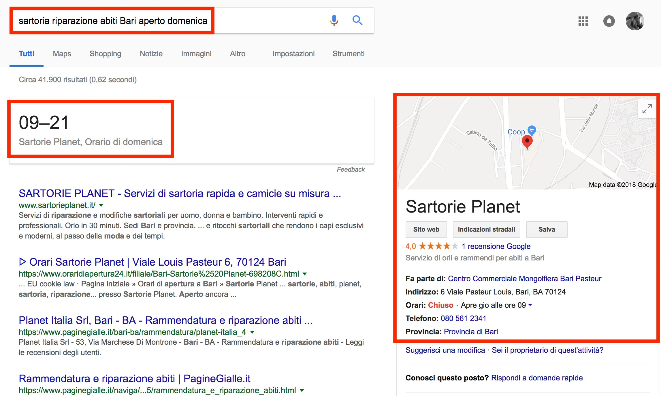 Google My Business: ricerche con intento di acquisto urgente
