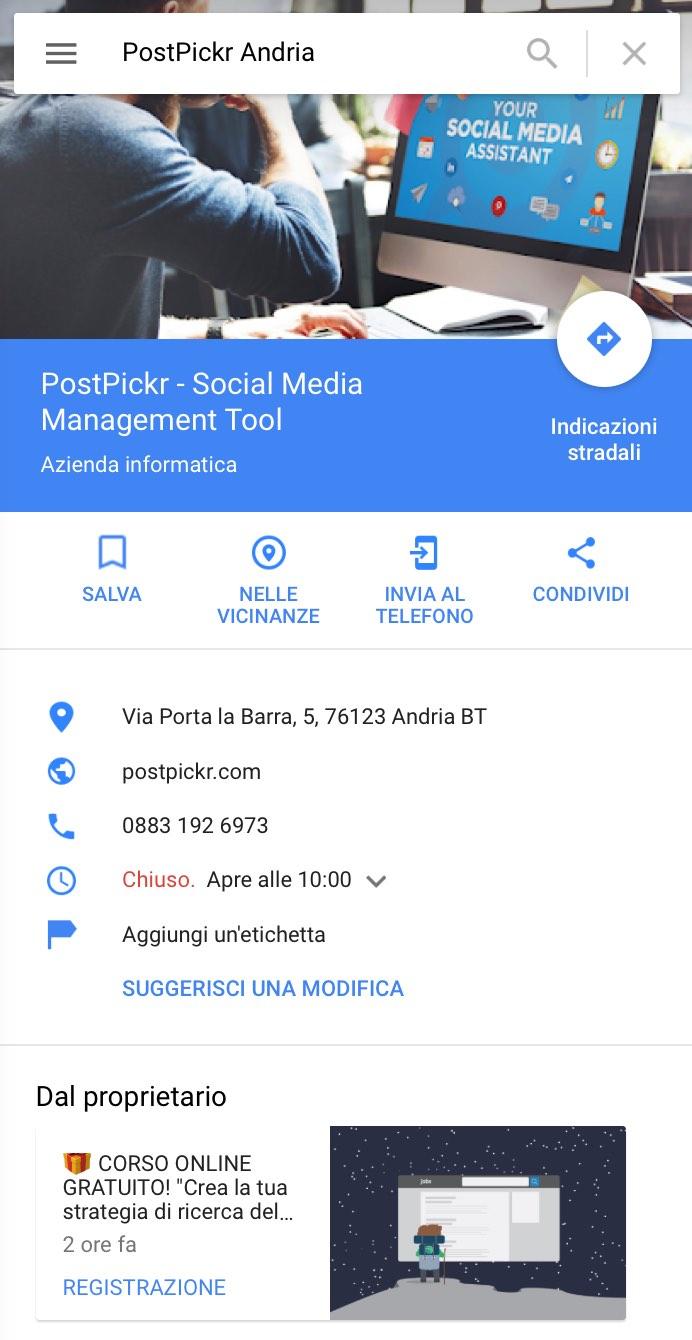 Scheda Attività My Business su Google Maps