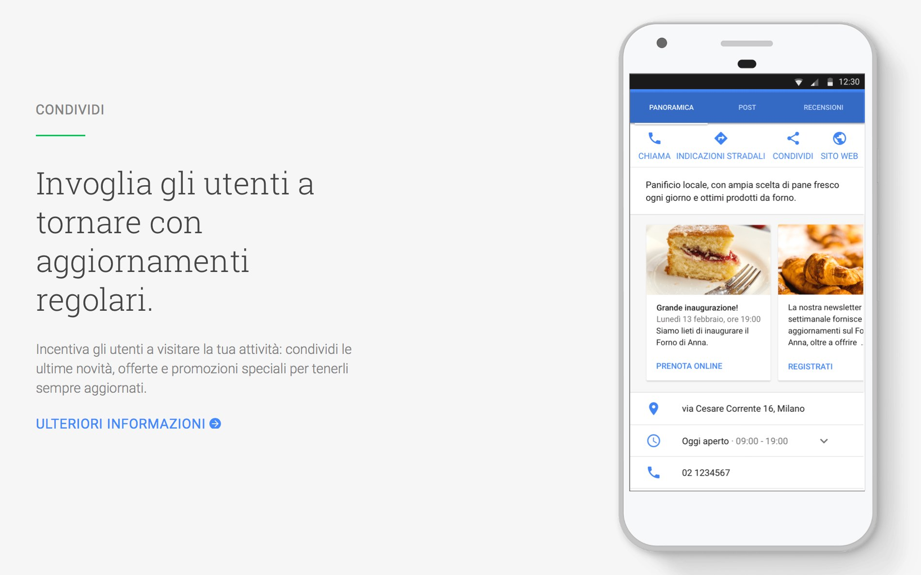 La funzione Post di Google My Business