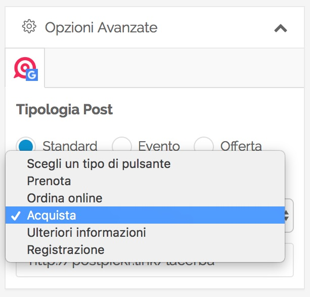 Post Google My Business - impostare il pulsante di call to action