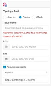 Post Google My Business - formato Offerta