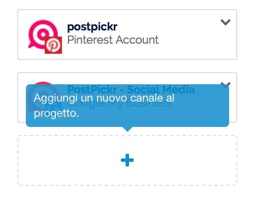 Aggiungi un nuovo canale al Progetto di PostPickr