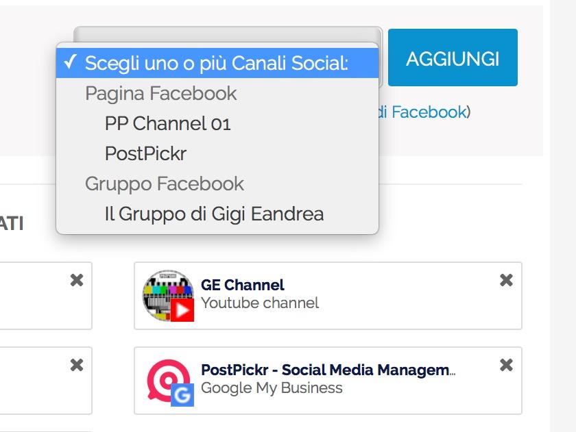 Scelta del gruppo Facebook da collegare