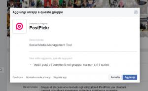 Aggiungi app PostPickr al gruppo Facebook