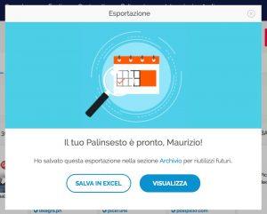 Salva esportazione come excel o visualizza in una pagina web