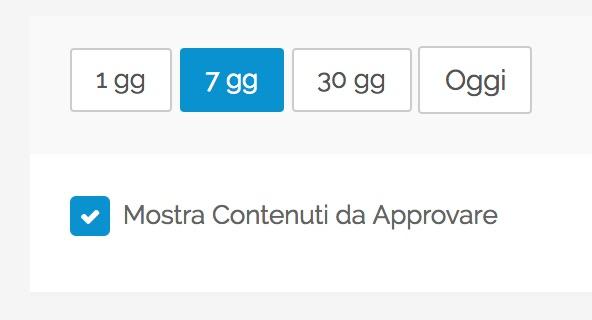 """Opzione """"Mostra contenuti da approvare"""" nel Calendario"""