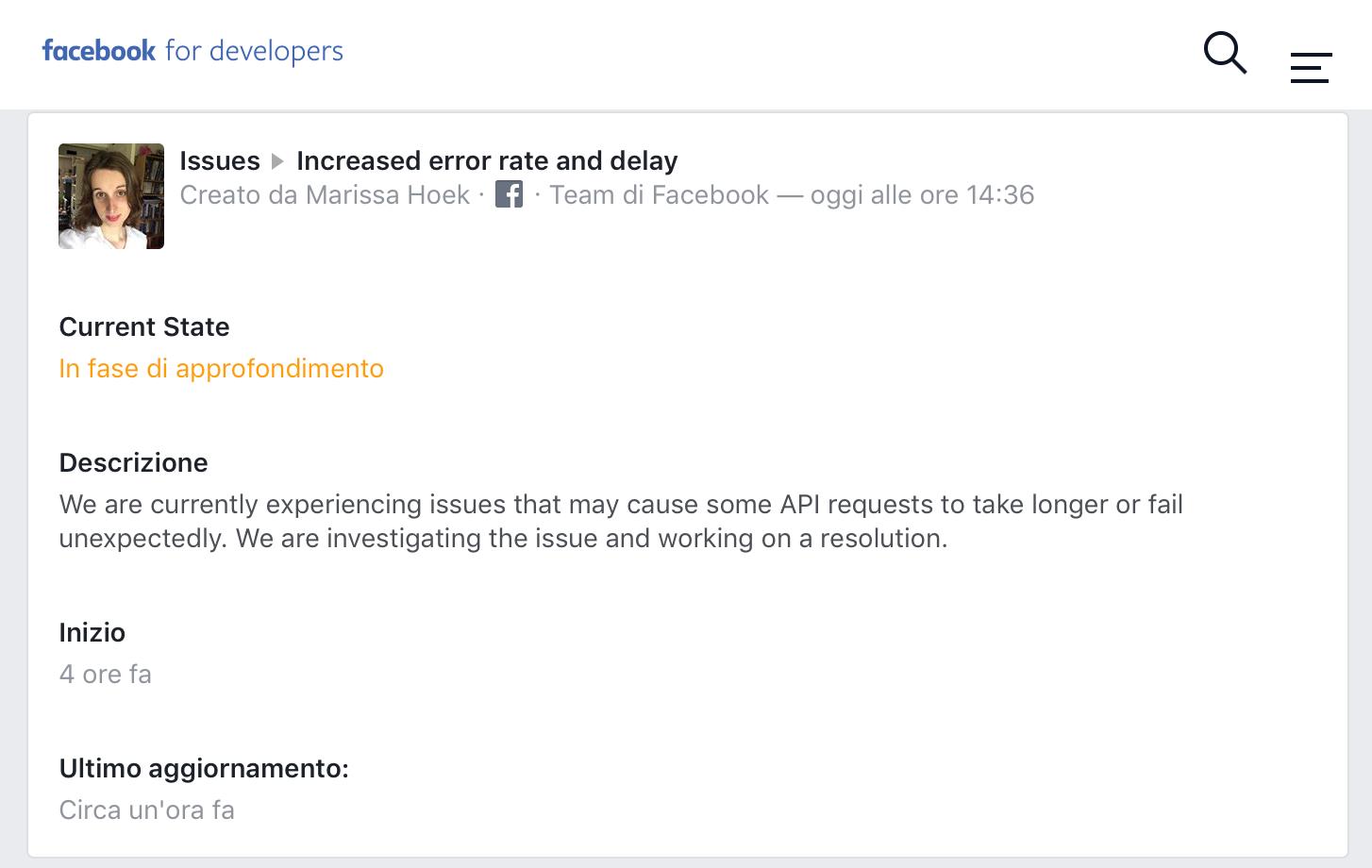 Facebook Developers - API error