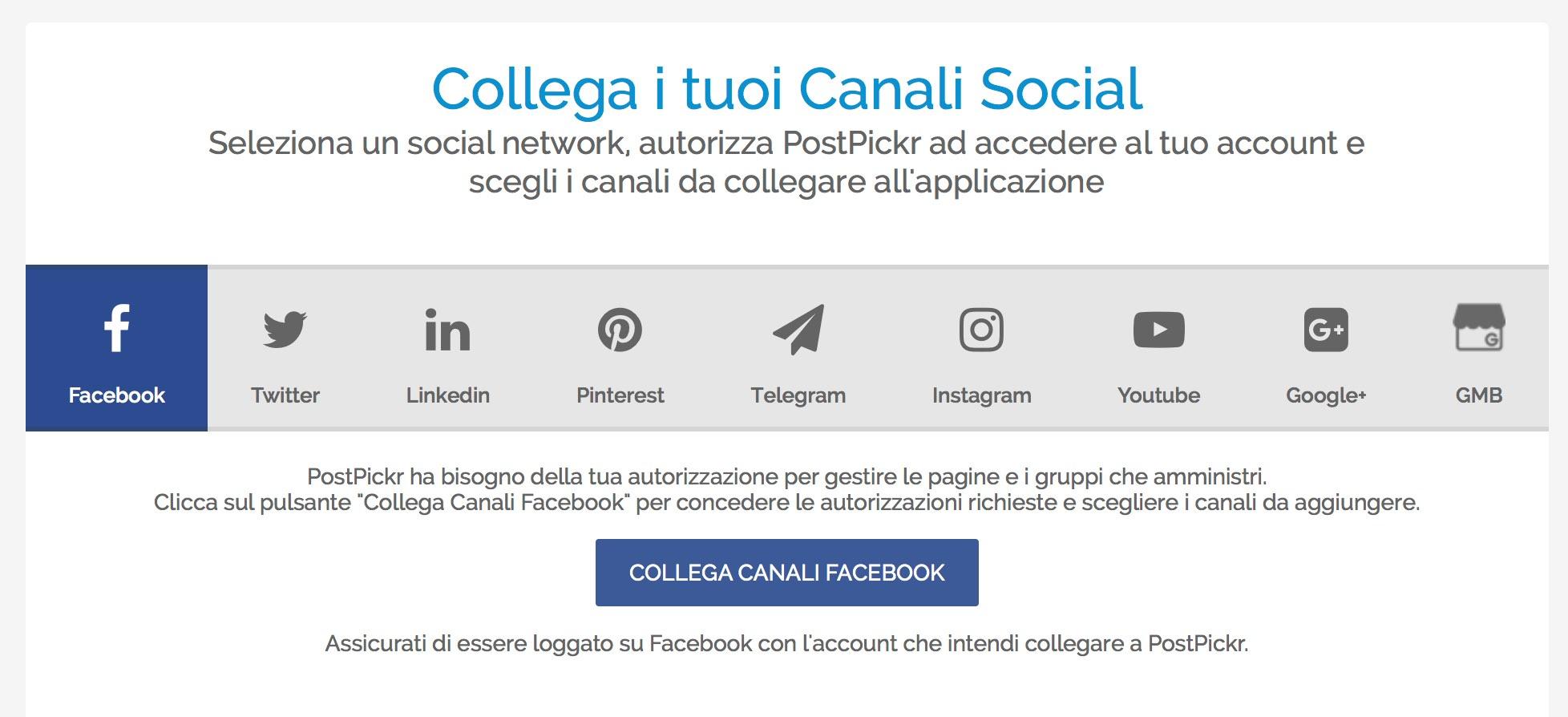 Finestra di collegamento canali social