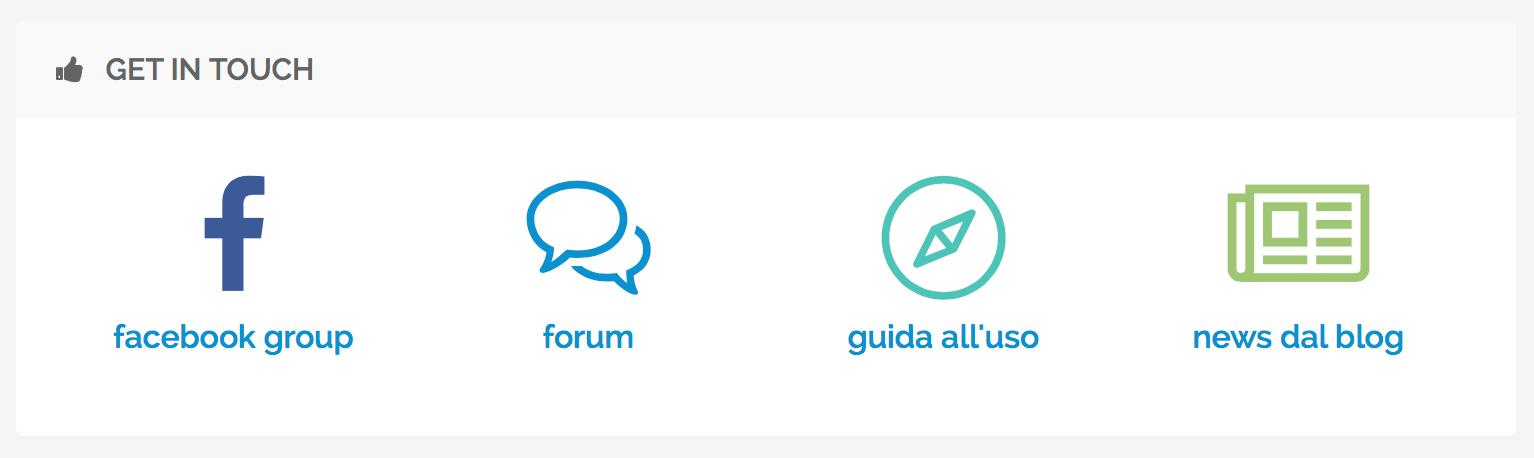 Collegamenti ai canali di assistenza e supporto di PostPickr