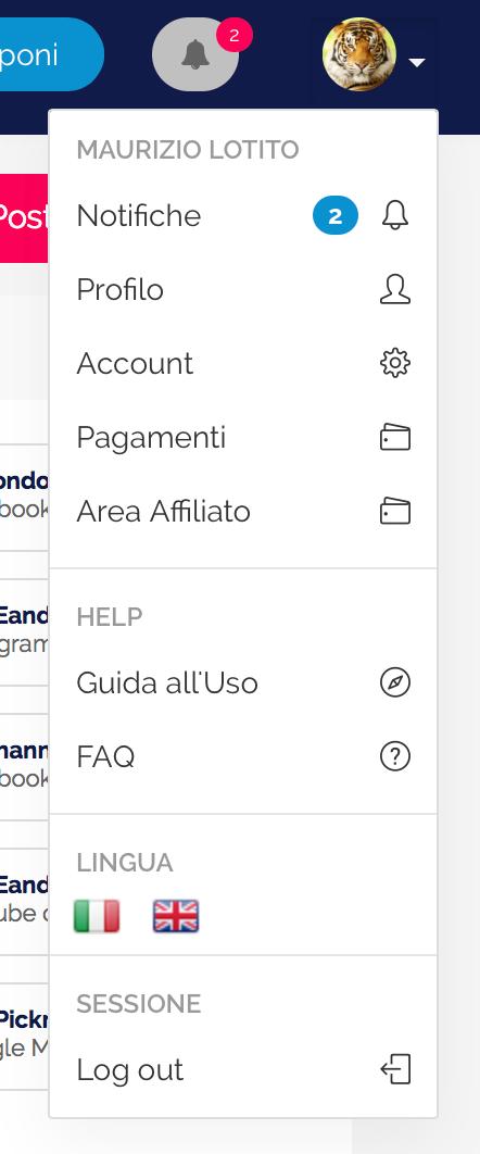 Menù del profilo utente