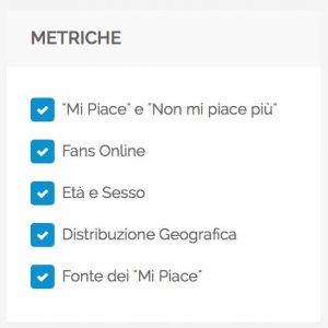 Audience - menu Metriche