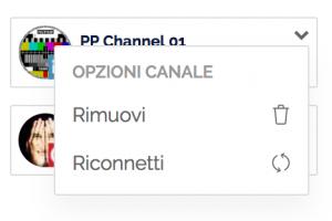 Menu delle opzioni del canale