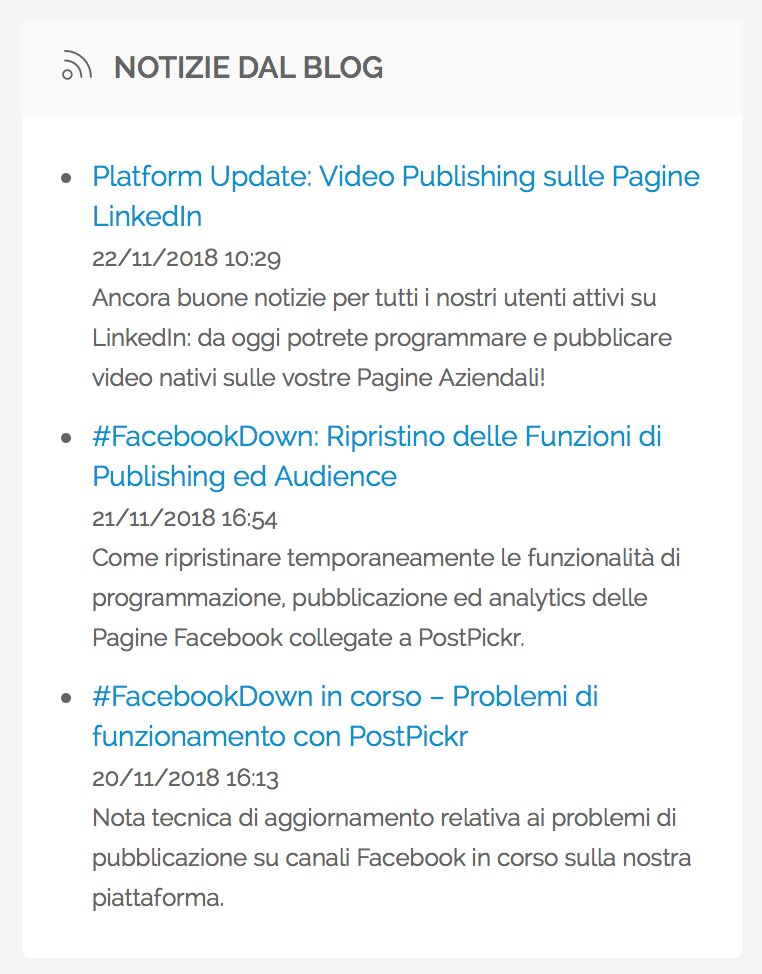 Riquadro con ultime news dal blog di PostPickr