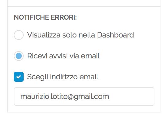 Impostazioni notifiche email Rubriche