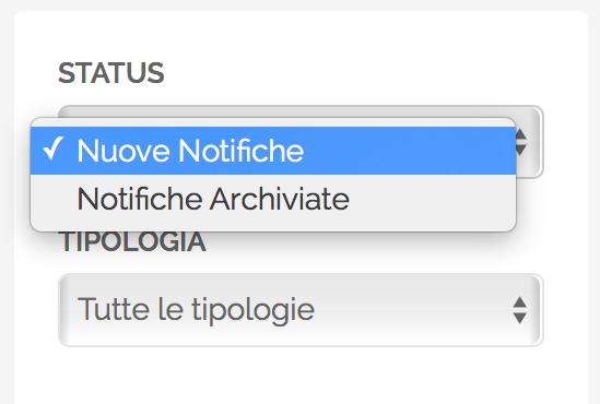 Notifiche - Filtro per Status