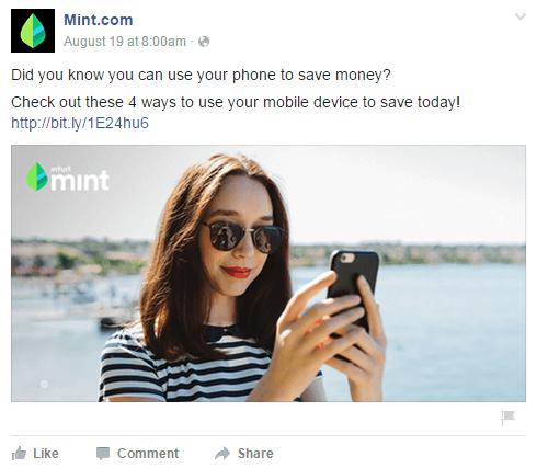 Esempio di uso di volti sorridenti in un post sponsorizzato