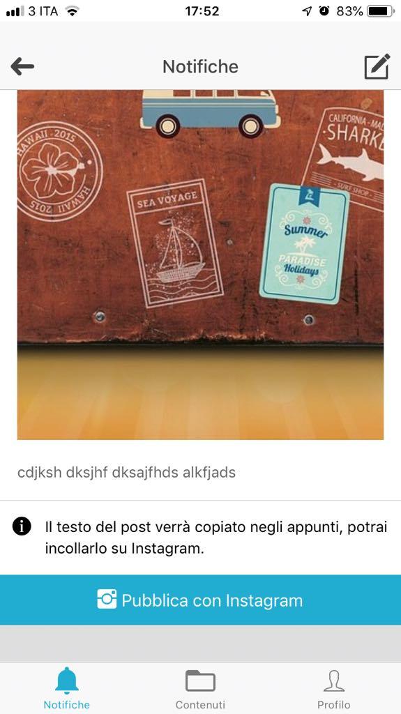 Sistema iOS - pulsante di invio del contenuto programmato all'App Instagram