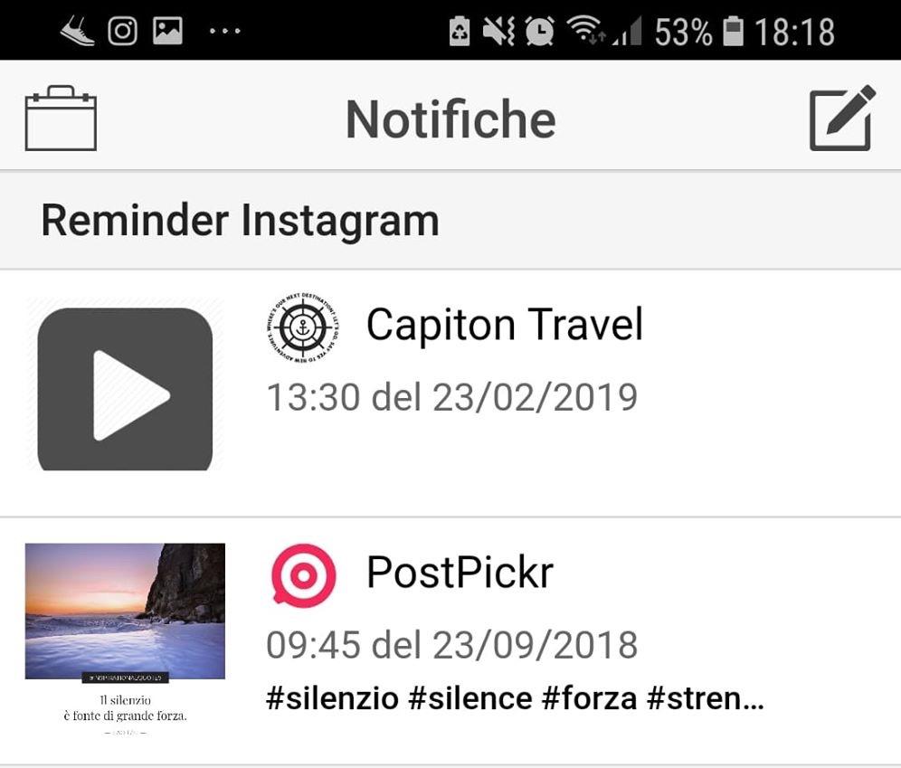 """App mobile PostPickr - Sezione """"Reminder Instagram"""""""