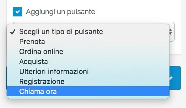Opzioni avanzate Google My Business - pulsante Chiama Ora