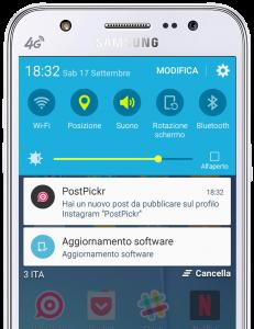 Pubblicazione con notifica attraverso app mobile PostPickr