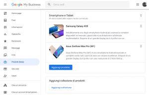 Dashboard web di Google My Business - editor dei prodotti