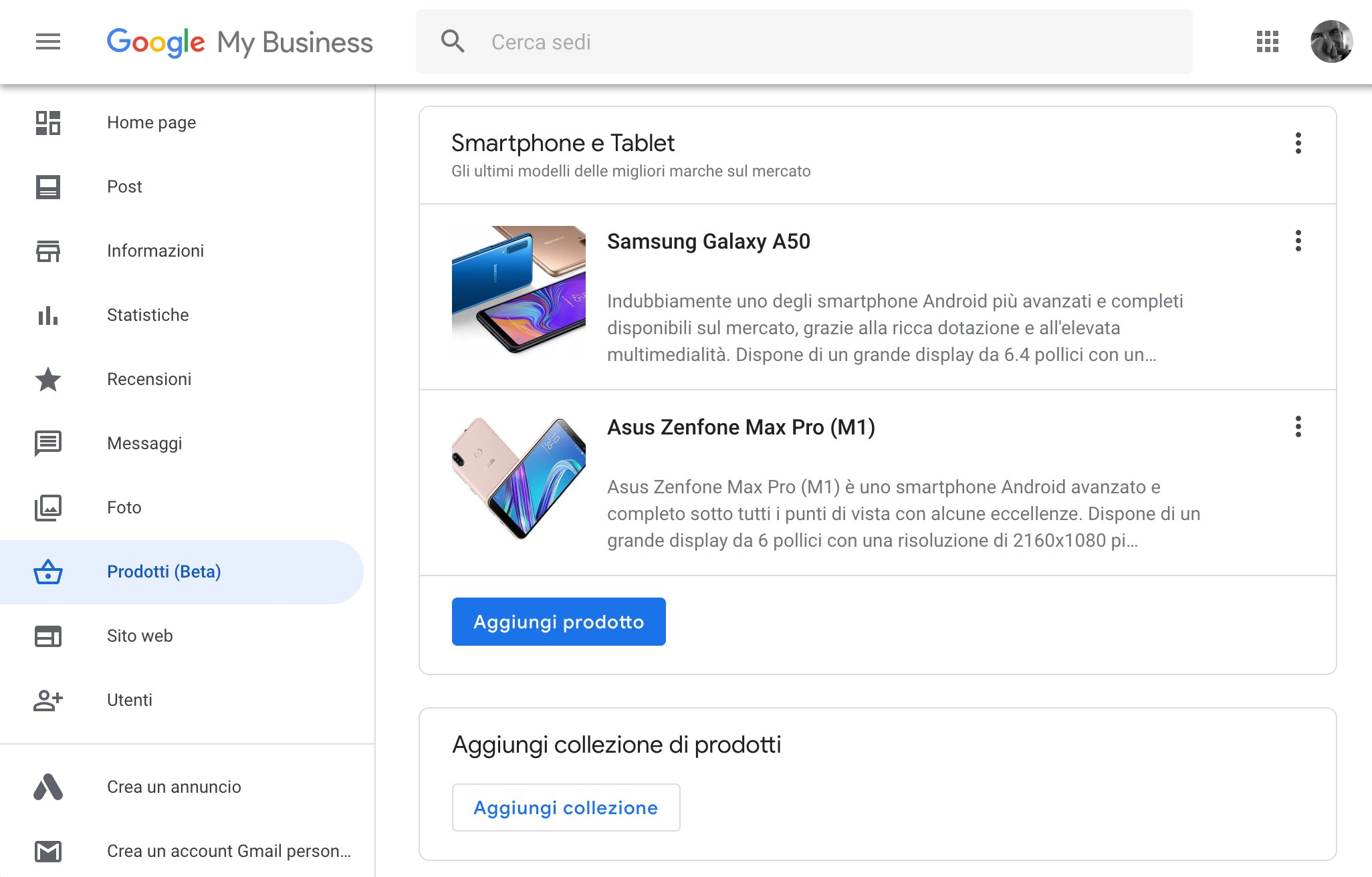 Dashboard web di Google My Business - editor dei prodotti