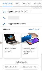 Tab Panoramica - Sezione Prodotti - Scheda Attività Google My Business