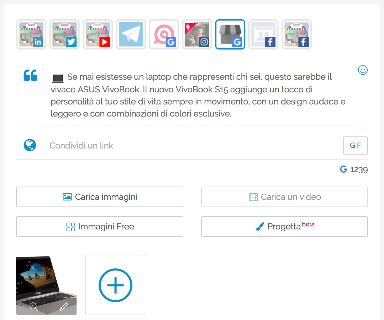 Post Editor - Testo ed immagine del post Prodotto - Google My Business