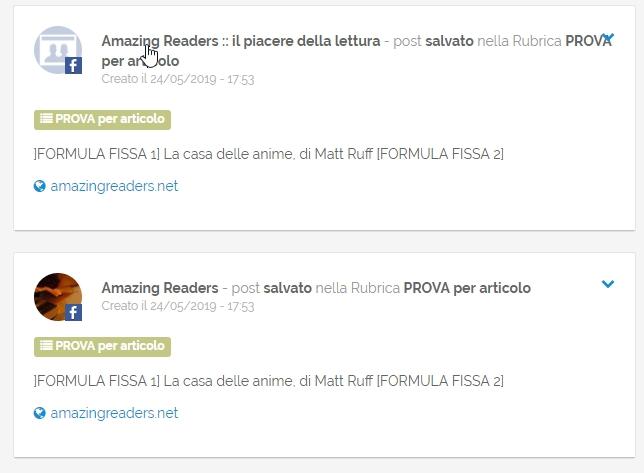 Come vengono visualizzati i post dopo l'importazione in PostPickr