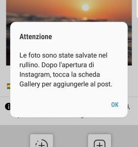 App Android: finestra di avviso salvataggio foto nel rullino