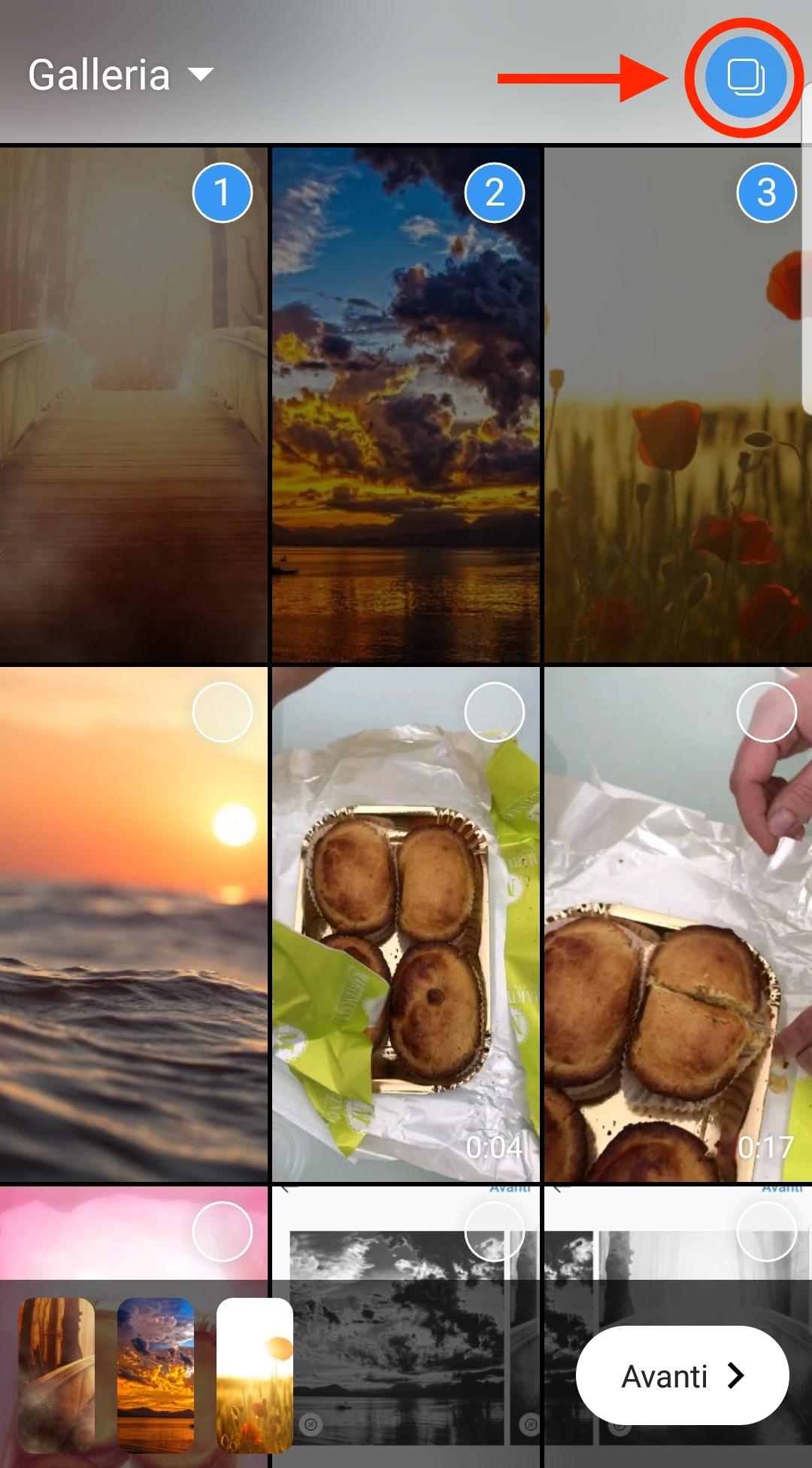 Selezione di immagini multiple per le Storie di Instagram
