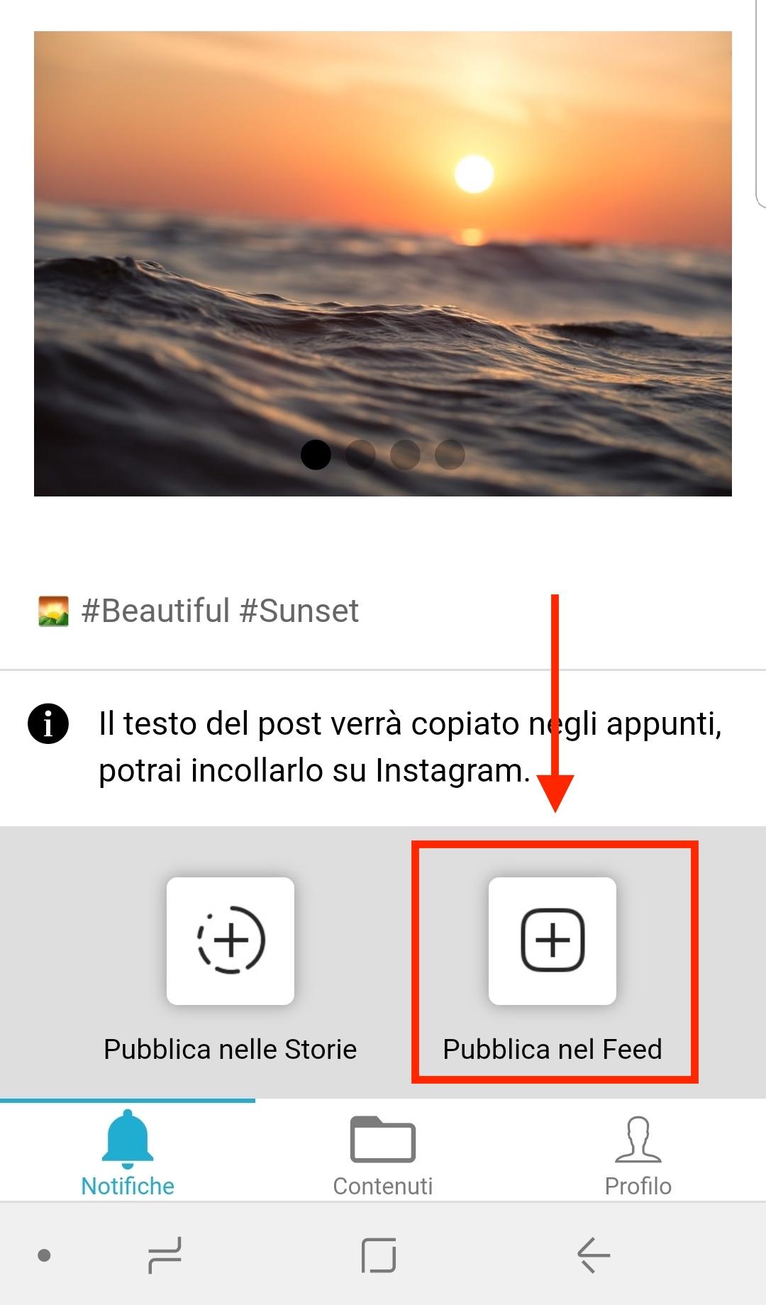 App Android PostPickr - opzione di invio alle storie o al feed