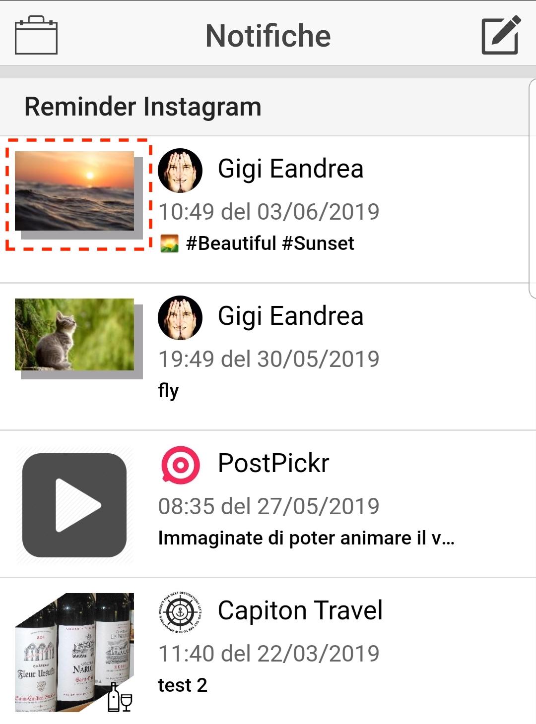 L'elenco dei reminder di pubblicazione su Instagram