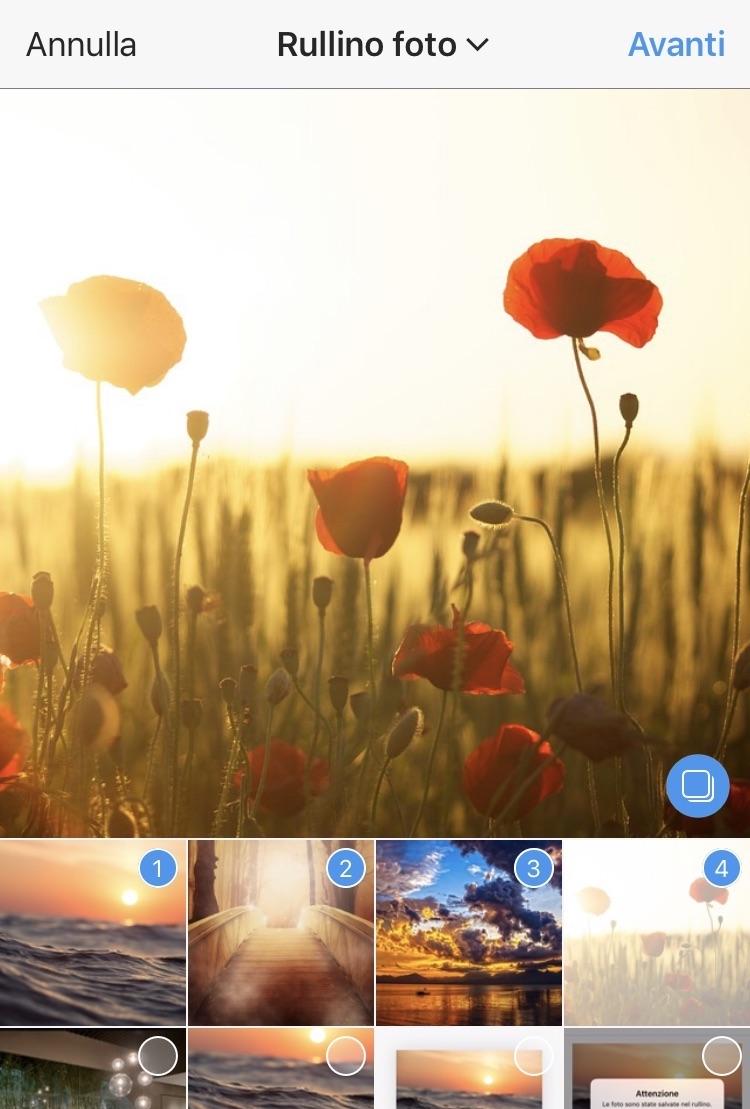 App iOS - selezione multipla di foto dal rullino