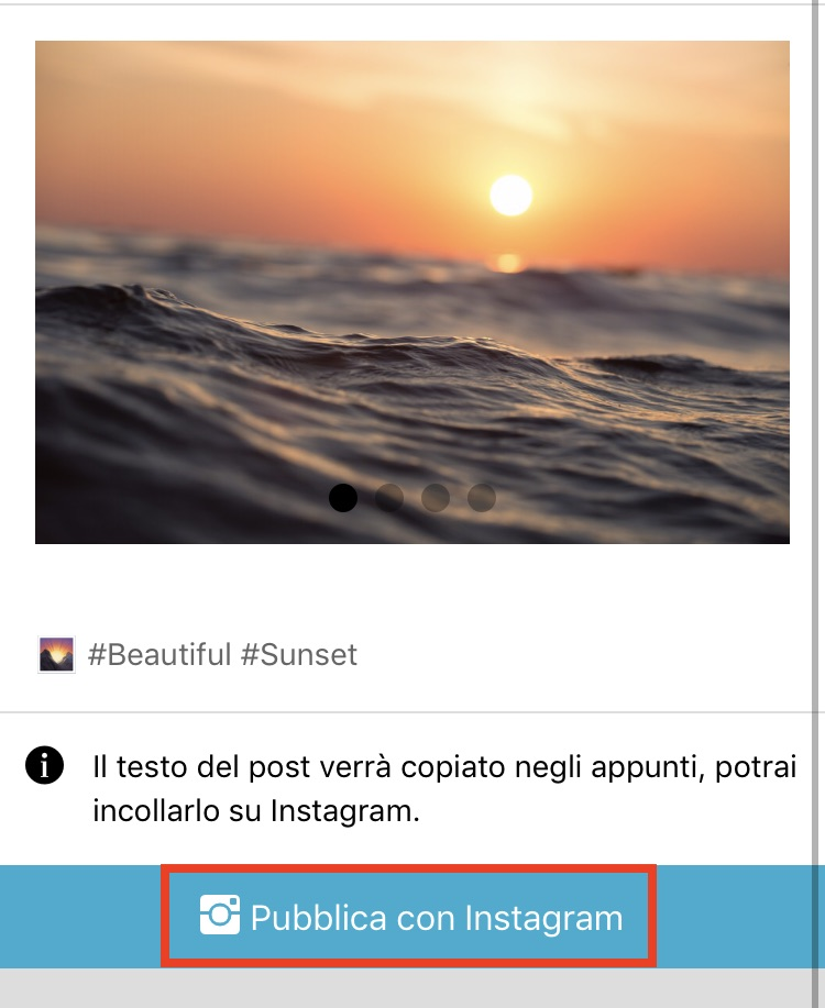 """app iOS - pulsante """"Pubblica su Instagram"""""""